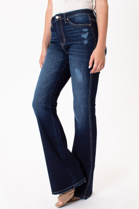 KanCan High Rise Slightly Distressed Flare Jeans