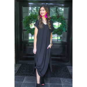 Libby T-Shirt Maxi Dress in Black