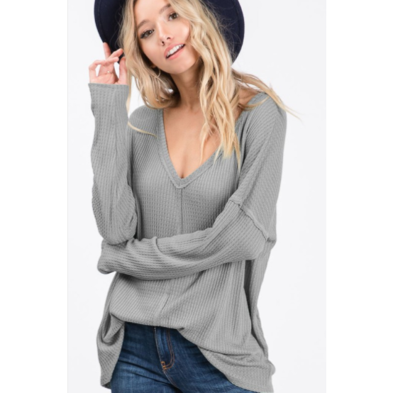 Waffle Knit V-Neck Tunic in Grey