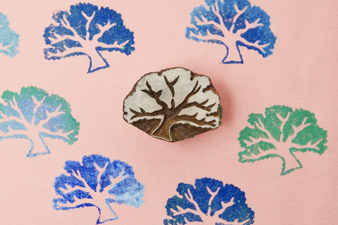 Bird-Cherry Tree, hand carved Indian wood block stamps from Blockwallah
