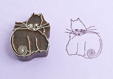 Curly Cat, Handmade wood stamps from Blockwallah