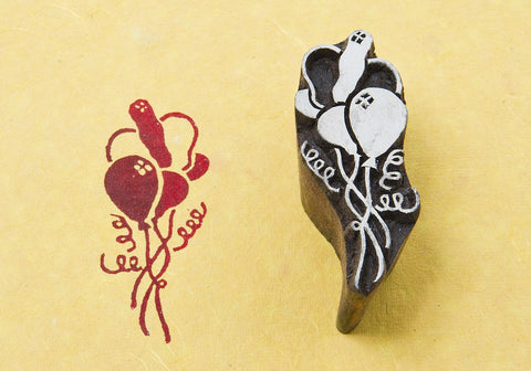 Balloons, hand carved wood block stamps from India