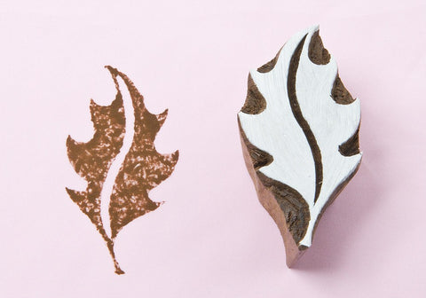 Autumn Leaf, hand carved textile stamps from Blockwallah