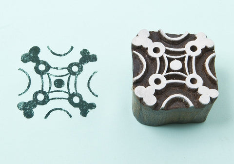 Floral Square, hand crafted wooden printing  blocks from Blockwallah