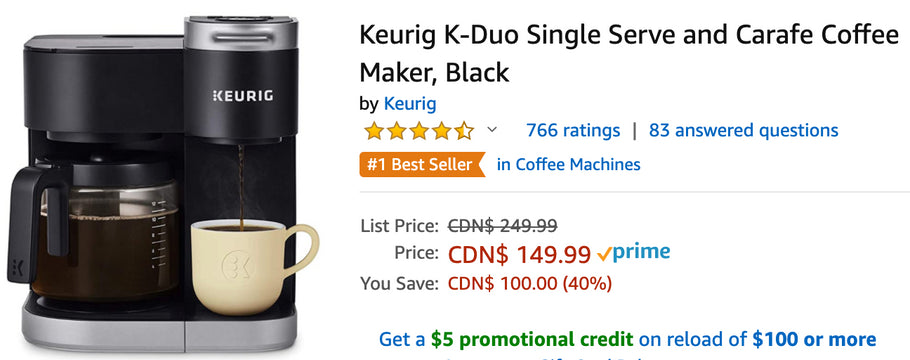 Amazon Canada Deals: Save 40% on Keurig Coffee Maker + 36% on Fisher-Price Aquaman Playset + 29% on All-new Kindle + More Offers