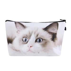 1pc Fashion Makeup Organizer Cat Printed Multi-use Small Portable Zipper Travel Cosmetic Toiletry Storage Clutch Bag Pouch