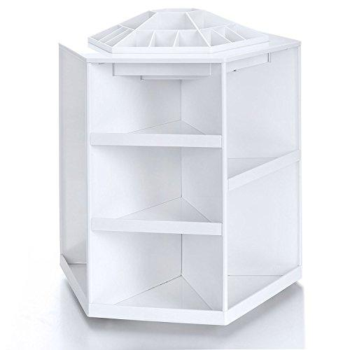 Cosmetic Organizer 360 Degree Rotating Bathroom Makeup Organizer Spinning Countertop SKin Care Case Box Lotion Lipsticks Nail Polish Tower Rack Make Up Brush Storage Carousel White