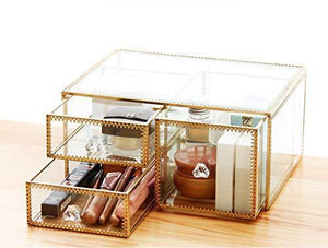 Top pengke x large gold makeup organizer clear jewelry and cosmetic storage case large capacity for beauty product organizer 4 drawer keep your vanity organized 10 5x8 1x12 5