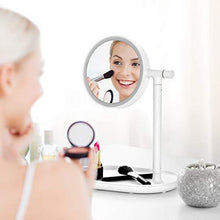 Load image into Gallery viewer, Save on lighted makeup mirror mirror with cosmetic organizer tray 1x 3x magnification usb charging 270 degree adjustable led light makeup vanity for desk or tabletop white