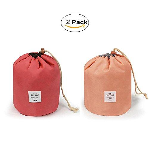 2 Pieces Barrel Shaped Travel Bag Makeup Bag Travel Kit Organizer Bathroom Storage Carry Case Toiletry Bags (Watermelon And Pink)