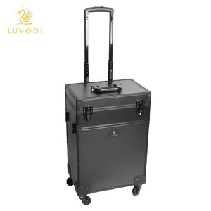The best luvodi professional 3 in1 rolling makeup train case with mirror and dimmable lights cosmetic vanity trolley studio jewelry organizer luggage wheeled box for mua show travel business