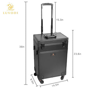 Shop luvodi professional 3 in1 rolling makeup train case with mirror and dimmable lights cosmetic vanity trolley studio jewelry organizer luggage wheeled box for mua show travel business