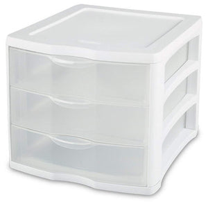 Budget friendly 3 unit plastic shelves drawer organizer shelving storage solution stackable with clear drawer handles for home office supplies school kids cabinets dresser makeup accessory utility white clear 4