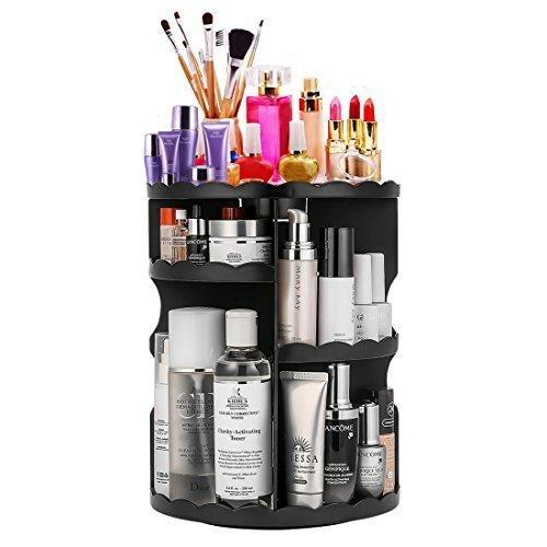 Buy now 360 degree rotating makeup organizer adjustable multi function cosmetic storage unit compact size with large capacity fits different types of cosmetics and accessories black