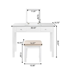 Amazon best aodailihb vanity table with flip top mirror makeup dressing table writing desk with cushioning makeup stool set 2 drawers 3 removable organizers easy assembly white