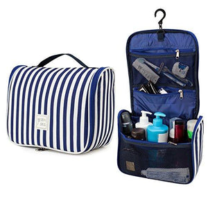 7Senses Hanging Toiletry Bag - Large Capacity Travel Bag for Women and Men - Toiletry Kit, Cosmetic Bag, Makeup Bag - Travel Accessories,Navy Blue