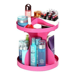 Evana 360 Degree Rotatable Cosmetics Plastic Makeup Storage Two Layer Multifunctional Makeup Cosmetic Organizer