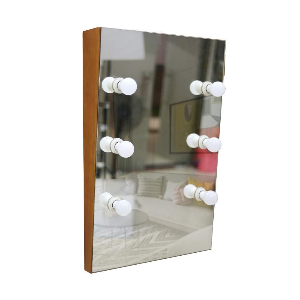 Shop for facilehome hollywood style solid wood wall mounted vanity mirror with led lights lighted makeup vanity mirrors with dimmer 6 bulbs