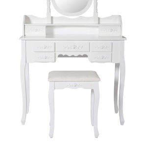 Featured kinsuite makeup vanity table set white dressing table stool seat with oval mirror and 7 drawers storage bedroom dresser desk furniture gift for women girl