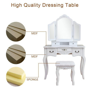 Budget azadx makeup table set tri folding mirror vanity table set dressing table organizers with cushioned stool bedroom white 5 drawer