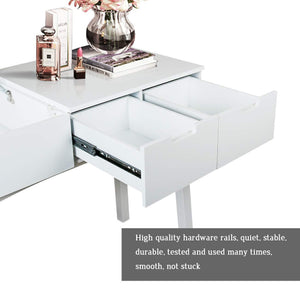 Buy vanity table with large sized flip top mirror makeup dressing table with a cushion stool set writing desk with two drawers one small removable organizers easy assembly