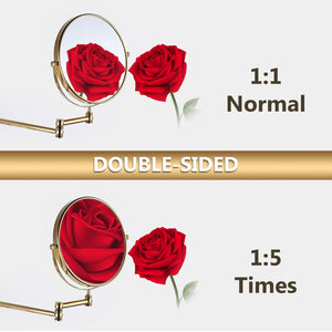 Featured makeup mirror wall mount 8 inch dual side with 1x 5x magnification bathroom magnifying mirror two side 360 swivel cosmetic face mirror extendable vanity mirrors luxury brass gold marmolux acc
