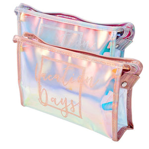 2 Packs Makeup Bag Iridescent Cosmetic Case Clutch Waterproof Clear Large Toiletries Pouch Holographic Handy Makeup Pouch Travel Organizer For Women Zipper Bathroom Wash Bags