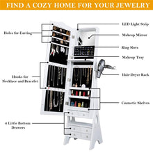 Load image into Gallery viewer, Discover yokstore jewelry cabinet organizer led mirrored jewelry storage armoire with full length standing large capacity makeup dressing mirror wardrobe for bedroom white