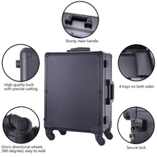 Load image into Gallery viewer, Related chende black pro studio artist train rolling makeup case with light wheeled organizer hollywood vanity set with mirror lights for dressing room black