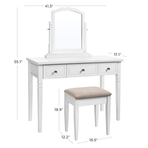 Exclusive vasagle vanity set with 3 big drawers dressing table with 1 stool makeup desk with large rotating mirror makeup and cosmetic storage multifunctional easy to assemble white urdt106wt