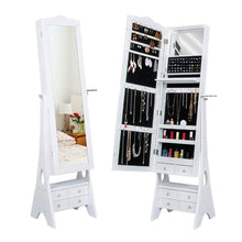 Load image into Gallery viewer, Budget friendly yokstore jewelry cabinet organizer led mirrored jewelry storage armoire with full length standing large capacity makeup dressing mirror wardrobe for bedroom white