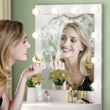 Load image into Gallery viewer, Order now tribesigns vanity set with lighted mirror makeup vanity dressing table dresser desk with large drawer for bedroom white 10 warm led bulb