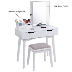 Top bewishome vanity set with mirror jewelry cabinet jewelry armoire makeup organizer cushioned stool 2 sliding drawers white makeup vanity desk dressing table fst04w