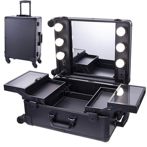 Organize with chende black pro studio artist train rolling makeup case with light wheeled organizer hollywood vanity set with mirror lights for dressing room black