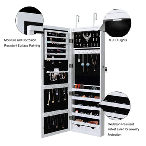 Best seller  giantex wall door mounted jewelry armoire organizer with 2 led lights lockable height adjustable jewelry cabinet with full length mirror large capacity dressing makeup jewelry mirror storage white