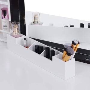 Storage bewishome vanity set with mirror cushioned stool storage shelves makeup organizer 3 drawers white makeup vanity desk dressing table fst05w