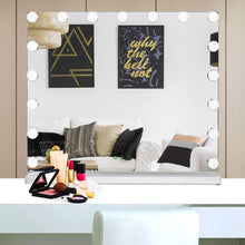 Load image into Gallery viewer, Discover waytrim lighted vanity mirror hollywood style makeup cosmetic mirrors with 17 dimmable led bulbs 3 color lighting touch control design white