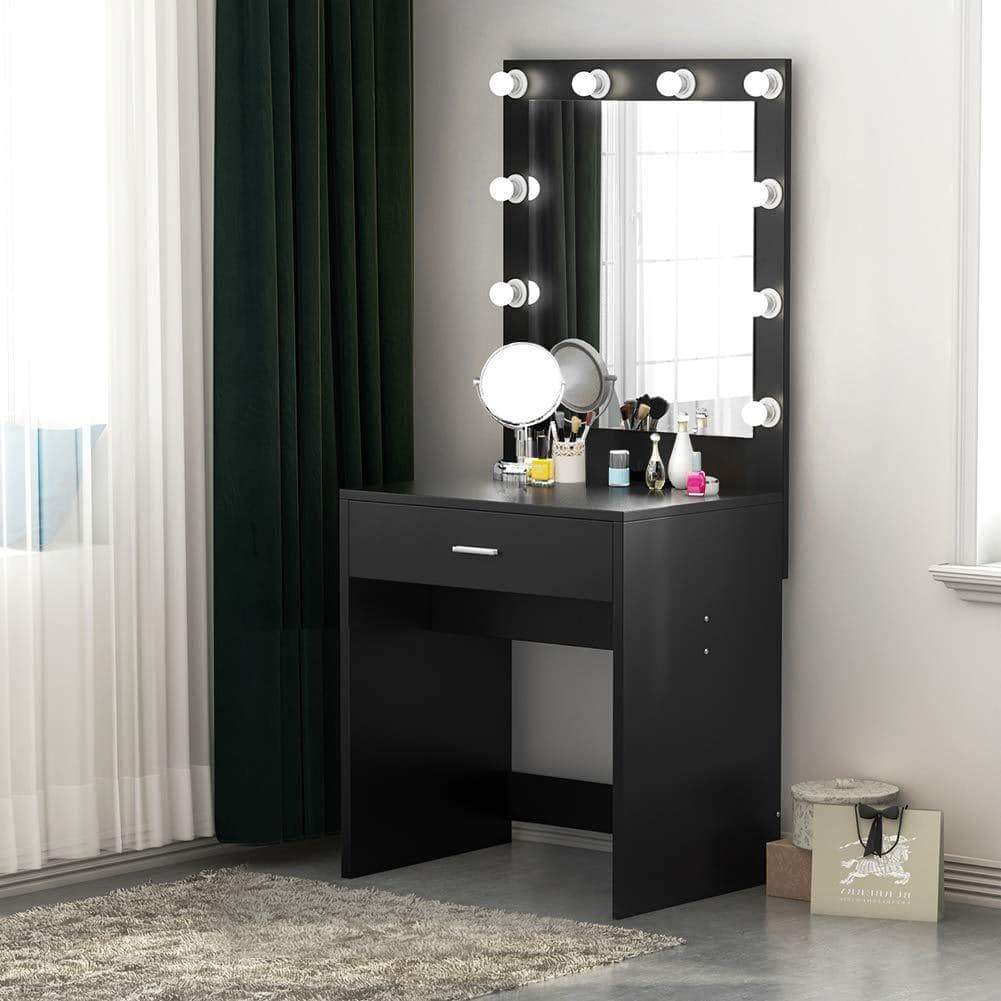 Budget friendly tribesigns vanity set with lighted mirror makeup vanity dressing table dresser desk with large drawer for bedroom black 10 cool led bulbs