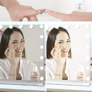 Featured waytrim lighted vanity mirror hollywood style makeup cosmetic mirrors with 17 dimmable led bulbs 3 color lighting touch control design white