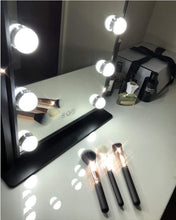 Load image into Gallery viewer, Top lighted vanity mirror with 12 dimmable led bulbs and touch control design 3 color lighting modes large hollywood style makeup cosmetic mirrors with lights for dressing table