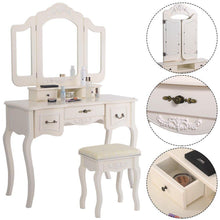 Load image into Gallery viewer, Best azadx makeup table set tri folding mirror vanity table set dressing table organizers with cushioned stool bedroom white 5 drawer
