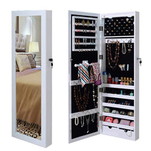Load image into Gallery viewer, Amazon best giantex wall door mounted jewelry armoire organizer with 2 led lights lockable height adjustable jewelry cabinet with full length mirror large capacity dressing makeup jewelry mirror storage white