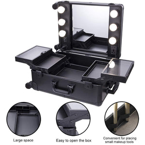 Products chende black pro studio artist train rolling makeup case with light wheeled organizer hollywood vanity set with mirror lights for dressing room black
