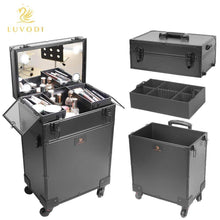 Load image into Gallery viewer, Selection luvodi professional 3 in1 rolling makeup train case with mirror and dimmable lights cosmetic vanity trolley studio jewelry organizer luggage wheeled box for mua show travel business