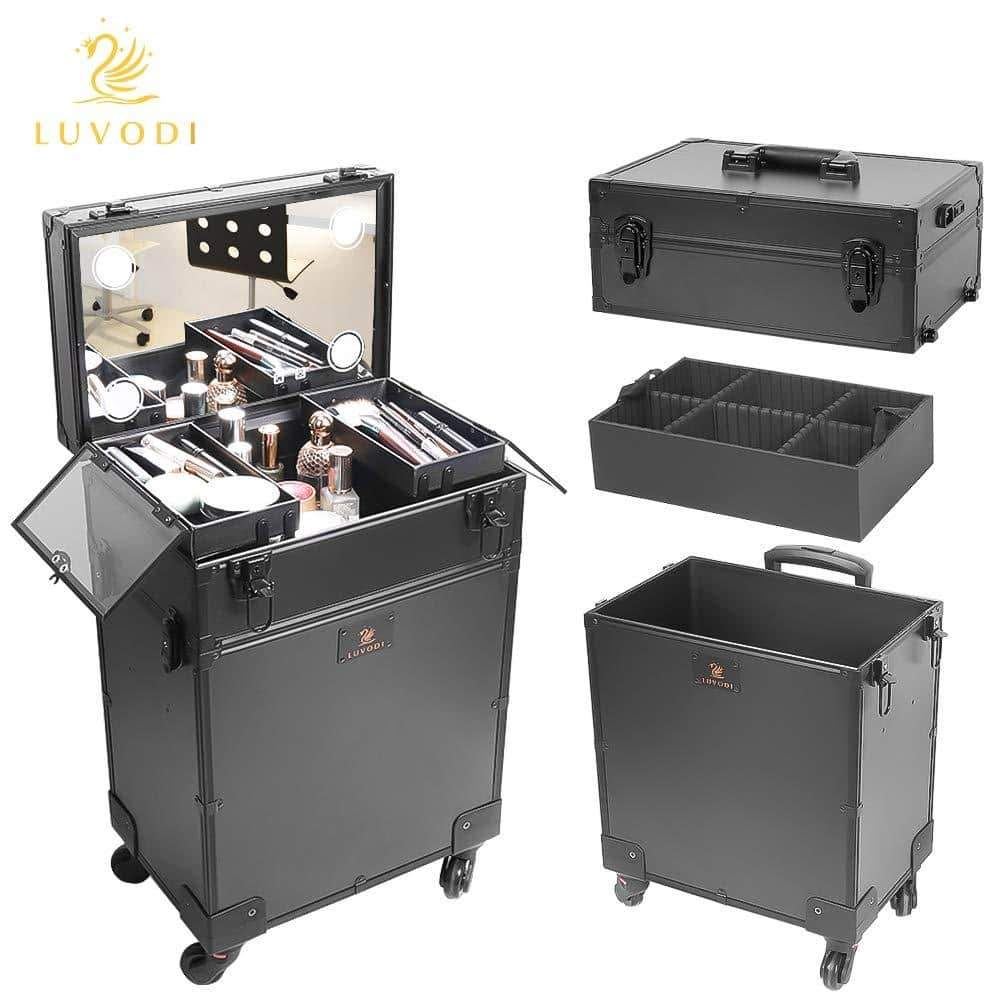 Selection luvodi professional 3 in1 rolling makeup train case with mirror and dimmable lights cosmetic vanity trolley studio jewelry organizer luggage wheeled box for mua show travel business