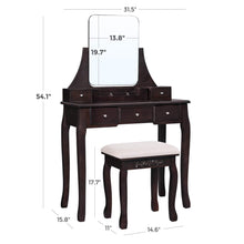 Load image into Gallery viewer, Shop here vasagle vanity table set with large frameless mirror makeup dressing table set for bedroom bathroom 5 drawers and 1 removable storage box cushioned stool walnut urdt25wn