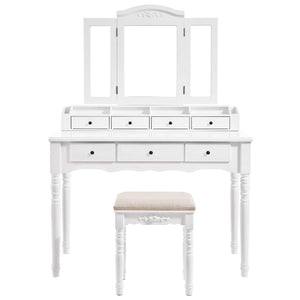 The best vasagle vanity set tri folding necklace hooked mirror 7 drawers 6 organizers makeup dressing table with cushioned stool easy assembly for women white urdt06m