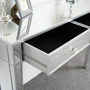 Purchase ssline mirrored writing desk vanity dressing table desk for women with 2 drawers silver glass finish makeup table media console table