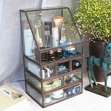 Load image into Gallery viewer, Get hersoo large antique mirror glass makeup organizer jewelry cosmetic display stackable dresser storage for vanity with lid dustproof beauty accent home decorative box drawerset br