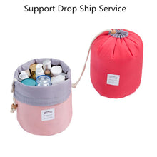 Load image into Gallery viewer, Drawstring barrel shaped women cosmetic Bag High quality makeup organizer storage bags Travel toiletry kit